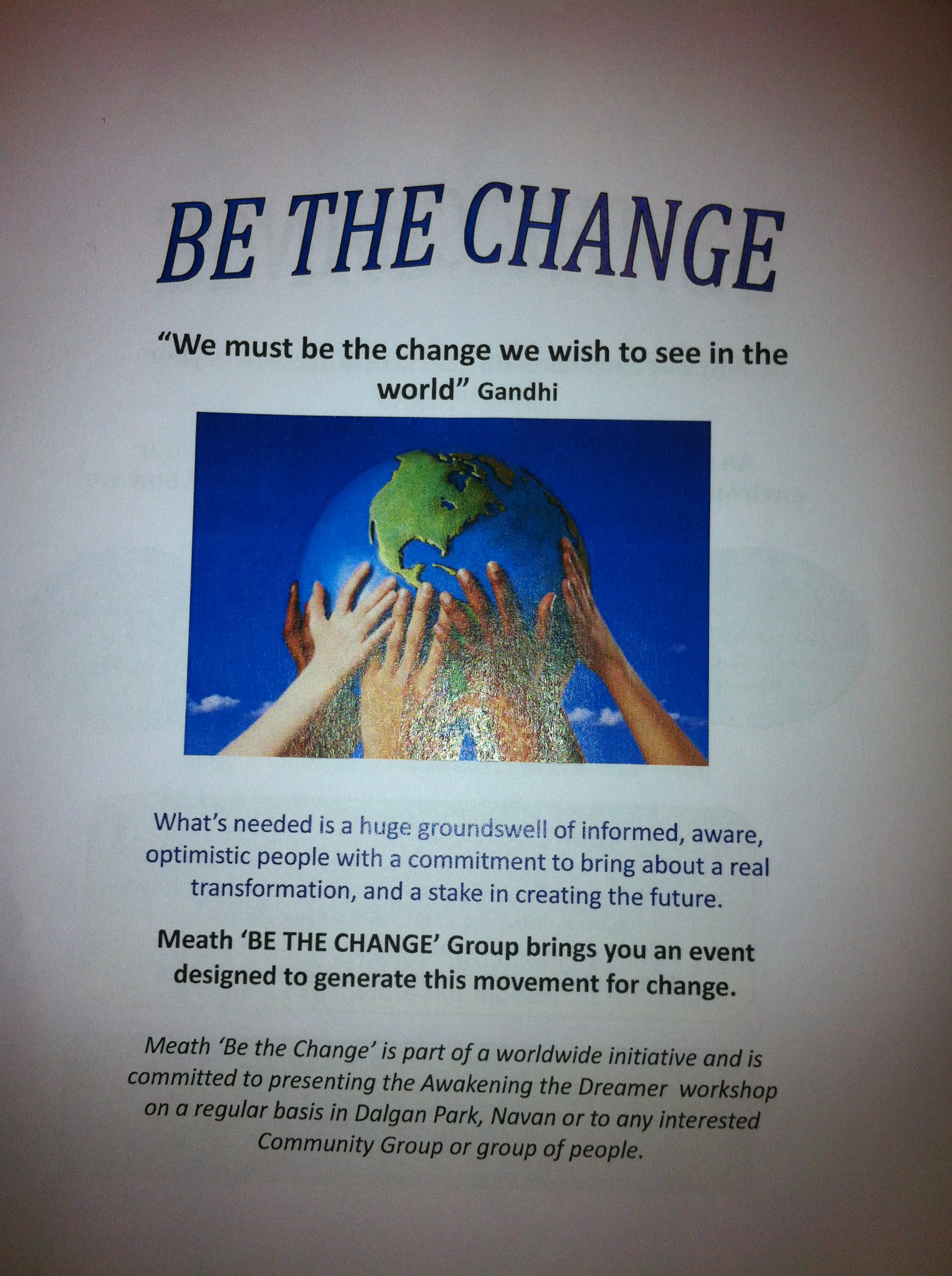 be the change flyer